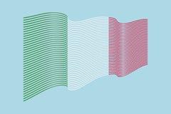 Вектор флага Италии на голубой предпосылке Флаг нашивок волны, линия il Стоковое фото RF
