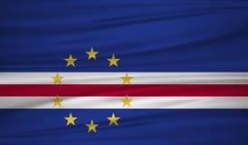 Вектор флага Кабо-Верде Vector флаг blowig Кабо-Верде в ветре Стоковое фото RF