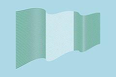 Вектор флага Нигерии на голубой предпосылке Флаг нашивок волны, линия Стоковая Фотография RF