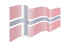 Вектор флага Норвегии на белой предпосылке Флаг нашивок волны, линия Стоковая Фотография