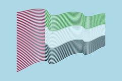 Вектор флага ОАЭ на голубой предпосылке Флаг нашивок волны объединенного Стоковые Фотографии RF