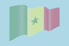 Вектор флага Сенегала на голубой предпосылке Флаг нашивок волны, линия Стоковая Фотография RF