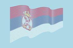 Вектор флага Сербии на голубой предпосылке Флаг нашивок волны, линия i Стоковые Изображения