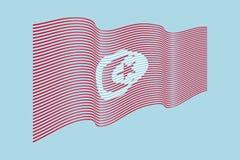 Вектор флага Туниса на голубой предпосылке Флаг нашивок волны, линия Стоковая Фотография