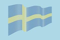 Вектор флага Швеции на голубой предпосылке Флаг нашивок волны, линия i Стоковая Фотография RF