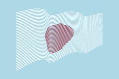 Вектор флага Японии на голубой предпосылке Флаг нашивок волны, линия il Стоковые Фото