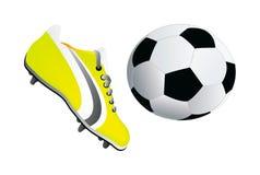 вектор футбола ботинка шарика Стоковое Изображение