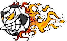 вектор футбола изображения пламени стороны шарика иллюстрация вектора