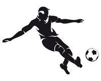 вектор футбола силуэта футболиста Стоковое Изображение RF