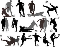 вектор футбола силуэтов игроков Стоковые Изображения RF