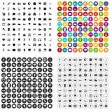 100 вектор футбола установленный значками различный Стоковое фото RF