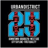 Вектор футболки оформления места Нью-Йорка Бруклина известный иллюстрация вектора