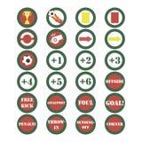 Вектор футбола установленный значками Стоковые Изображения RF