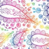 вектор флористической картины безшовный Вручите вычерченную текстуру с Пейсли, декоративным чертежом, книжка-раскраской Стоковые Изображения RF