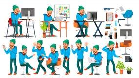Вектор характера бизнесмена Установленный трудовой народ Офис, творческая студия лучей Работник, фрилансер Во всю длину иллюстрация вектора