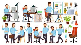 Вектор характера босса главный исполнительный директор, управляющий директор, репрезентивный директор Представления, эмоции Встре иллюстрация штока