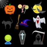 Вектор хеллоуина установленный значками Стоковые Фото