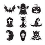 Вектор хеллоуина установленный значками Стоковые Изображения
