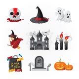 Вектор цвета дизайна значков хеллоуина Стоковое Изображение