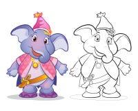 Вектор цвета шаржа elephane талисмана милого и линии искусства Стоковые Изображения