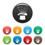 Вектор цвета шляпы и фейерверка установленный значками Стоковое Изображение