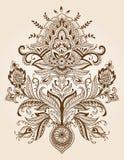 Вектор цветка Пейсли шнурка хны Стоковые Изображения RF