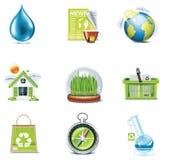 вектор части иконы экологичности 3 установленный Стоковая Фотография