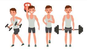 Вектор человека фитнеса Различные представления Разработайте активная пригодность Плоская иллюстрация шаржа иллюстрация вектора