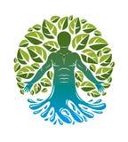 Вектор человеческий, индивидуальность выводя от волны воды и окруженная листьями зеленого цвета eco Нетрадиционная медицина, граф иллюстрация штока