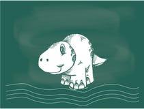 Вектор чертежа динозавра на меле классн классного Стоковая Фотография RF