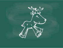 Вектор чертежа северного оленя на меле классн классного Стоковое фото RF