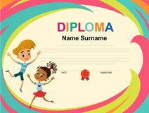 Вектор шаблона дизайна предпосылки сертификата диплома детей стоковые изображения