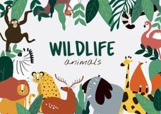 Вектор шаблона животных стиля мультфильма животных живой природы иллюстрация вектора