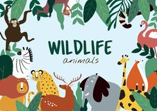 Вектор шаблона животных стиля мультфильма животных живой природы иллюстрация штока