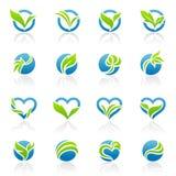 вектор шаблона логоса листьев установленный Стоковая Фотография