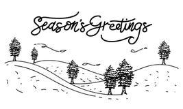 Вектор шаблона приветствиям ` s сезона Стоковые Изображения