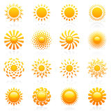вектор шаблона солнца логоса установленный Стоковое Изображение