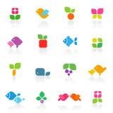 вектор шаблона цветастой природы логоса установленный Стоковая Фотография