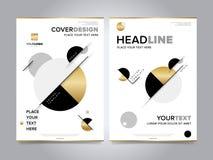 Вектор шаблона дизайна брошюры годового отчета золота Стоковые Изображения RF