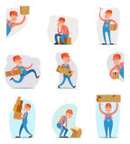 Вектор шаблона дизайна шаржа значка характера затяжелителя пересылки поставки загрузки коробки перевозки груза работника доставля Стоковое Изображение