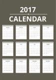 Вектор шаблона календаря Нового Года 2017 Стоковое Изображение