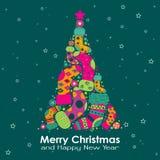 вектор шаблона приветствию рождества карточки иллюстрация вектора