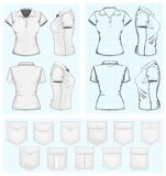 Шаблоны конструкции поло-рубашки женщин Стоковое Изображение RF