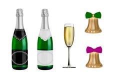 Вектор шампанского Нового Года Колокол золот в векторе иллюстрация вектора