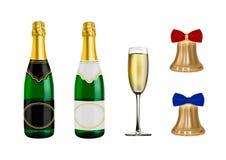 Вектор шампанского Нового Года Колокол золот в векторе иллюстрация штока