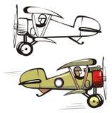 вектор шаржа самолет-биплана бесплатная иллюстрация