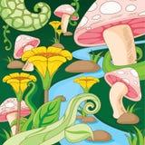 Вектор шаржа цветка и гриба сада страны чудес стоковые фотографии rf