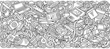 Вектор шаржа doodles иллюстрация нашивка искусства и дизайна горизонтальная иллюстрация штока