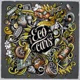 Вектор шаржа doodles иллюстрация электрических автомобилей