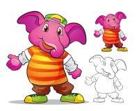 Вектор шаржа elephane талисмана милого Стоковые Изображения